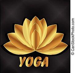 yoga, lotus, méditation, logo