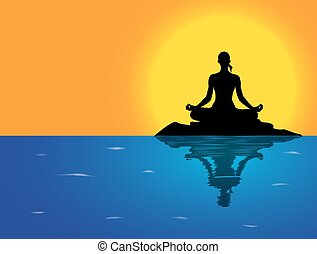 black and white meditation pose characters outline