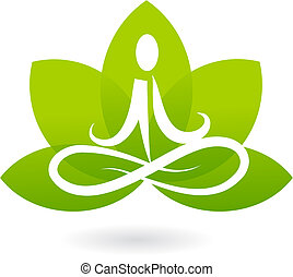 yoga, lotus, pictogram, /, logo