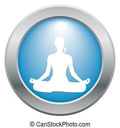Yoga Lotus Pose Blue Icon