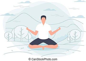 yoga, lotus pose, -, illustration, vecteur, homme