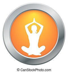 Yoga Lotus Pose Orange Icon
