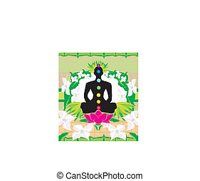 Yoga lotus pose. Padmasana with chakra points.