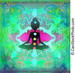 Yoga lotus pose. Padmasana with colored chakra points.