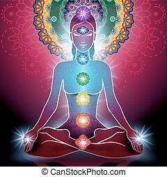 yoga, lotus positie, en, chakra