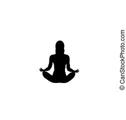 Yoga. Lotus position silhouette woman. Vector