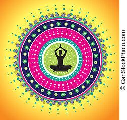 Yoga lotus posture graphic illustration style