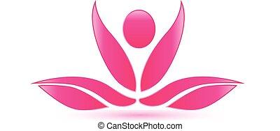 yoga, lotus, rose, figure, logo
