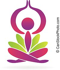 yoga lotus - Yoga lotus man logo vector design