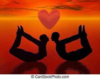 Yoga love - 3D render - a woman and a man doing yoga pose...
