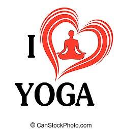 Yoga love vector illustration heart