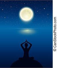 yoga, luna piena, cielo, meditare, persona, oceano, stellato, silhouette