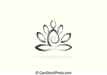 Yoga man flower logo