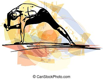 Yoga man illustration - Yoga sketch man illustration with...