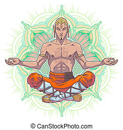 yoga man in a lotus position.