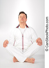 yoga man in white sportswear