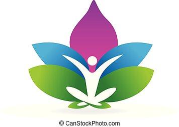Yoga man lotus flower logo