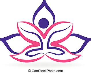 Yoga man lotus logo