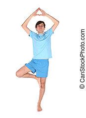 yoga man on one leg