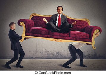 Yoga man on sofa - Men carrying a yoga businessman on sofa