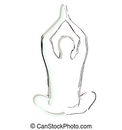 Yoga man silhouette, on a white background, a symbol of a healthy lifestyle. Vector illustration.