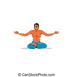 Young man practising yoga on a white background