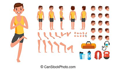 Yoga Man Vector. Prenatal Yoga Animated Character Creation Set. Man Full Length, Front, Side, Back View, Accessories, Poses, Face Emotions, Gestures. Isolated Flat Cartoon Illustration