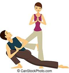 Yoga - Man & Woman doing yoga together