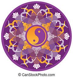 Yoga Mandala - Mandala background with yoga symbols and...