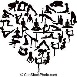 yoga, maniertjes, silhouettes, hart
