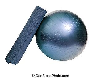 yoga mat and ball - yoga mat and pilates ball isolated on...