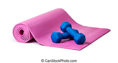 Yoga mat and dumbbells Isolated on white background