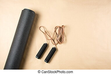 Yoga mat and leather jumping rope