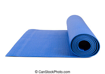 Yoga Mat for Exercise - Close up view of blue open yoga mat ...