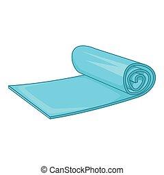 Yoga mat icon, cartoon style
