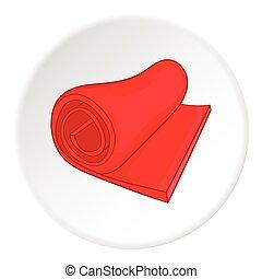 Yoga mat icon, cartoon style - Yoga mat icon. Cartoon...