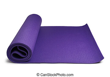 Yoga mat on white background