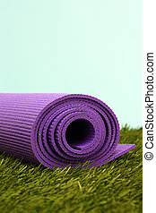 Yoga Mat - Purple Yoga Exercise Mat On Green Grass