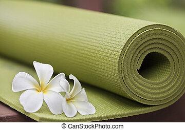 yoga mat - A green yoga mat sets on the floor