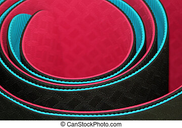 Yoga mats - Close-up of pink and blue rolled up yoga mats