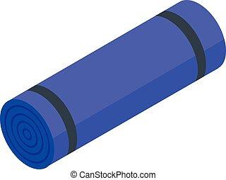Yoga mattress icon, isometric style