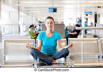 yoga, meditación, en, aeropuerto