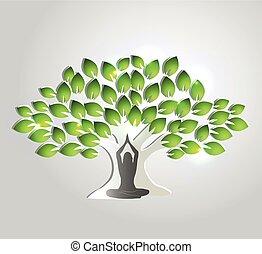 yoga, meditación, y, árbol