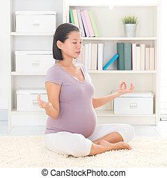 Yoga meditating at home