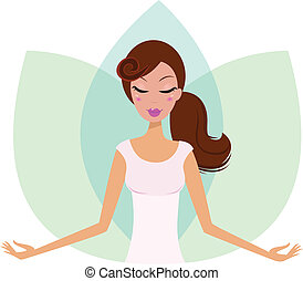 Yoga Woman practicing yoga, green Lotus Flower behind the girl. Vector Illustration.