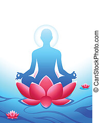 Yoga meditation at the sacred lotus sea of heaven