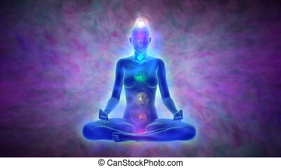 Yoga meditation - aura and chakras - Animation of woman in...