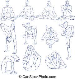 Yoga: Meditation - Hand drawn illustration about the ...