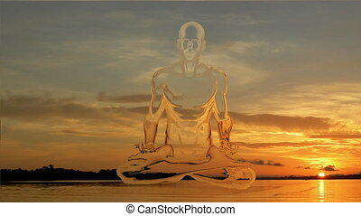 Yoga meditation in sunset with morphing golden body in lotus position