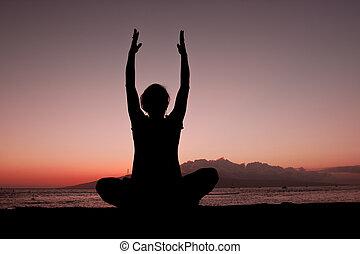 Yoga Meditation in the Sunset